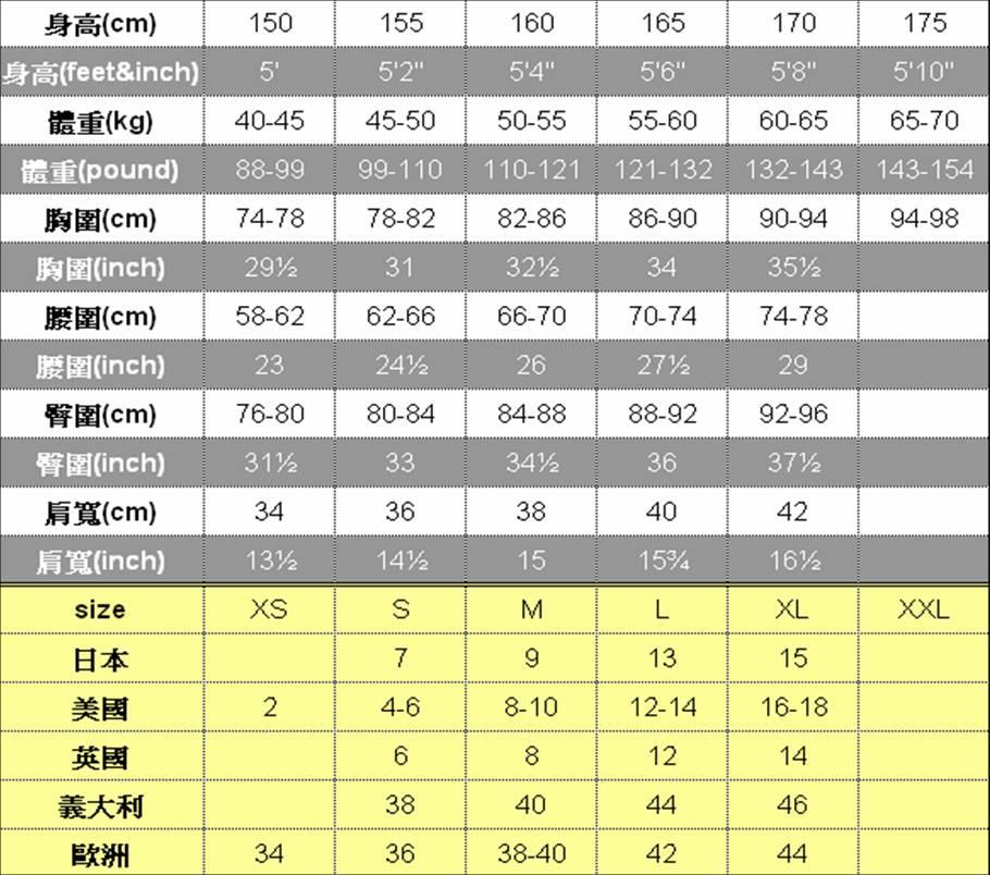 日本衣服尺寸對照size|尺寸|size- 日本衣服尺寸對照size|尺寸|size - 快熱資訊 - 走進時代