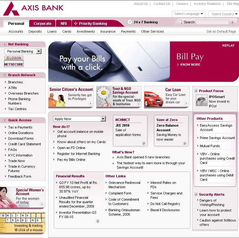 Axis net banking forex