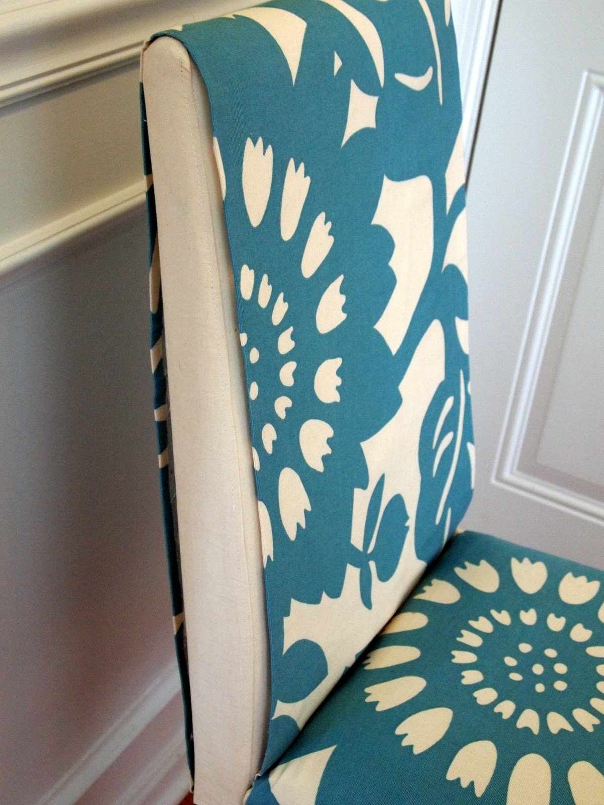 Teal Chair Covers White Outdoor Rocking Canada Loveyourroom My Morning Slip Cover Project Using Remnant Fabric No Sewing Needed