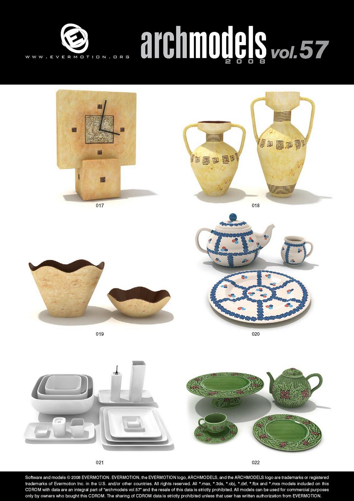 3D-XPLORE: Archmodels vol  57 - Porcelain & Dishes