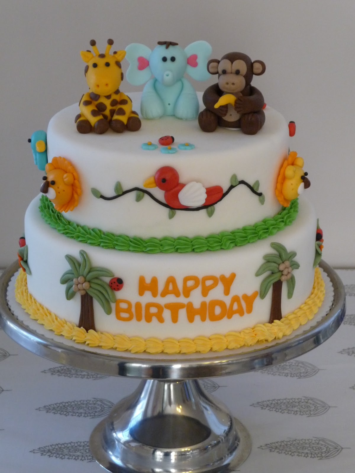 2 Tier Fondant Jungle Animal Cake