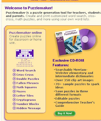 Daily Teaching Tips: Website of the Week: Puzzlemaker