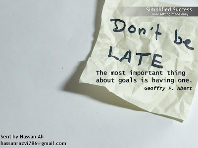 Motivational Wallpaper on Goals : Dont be late about making your goals