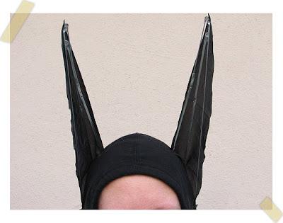 disfraz de murciélago reciclado orejas