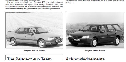 repairmanuals: Peugeot 405 Repair and Service Manual