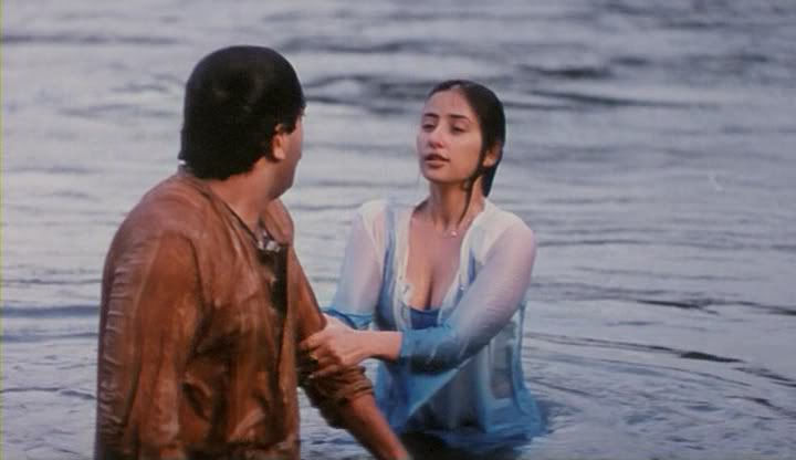 Manisha Koirala Hot Wet Boob Cleavage Show