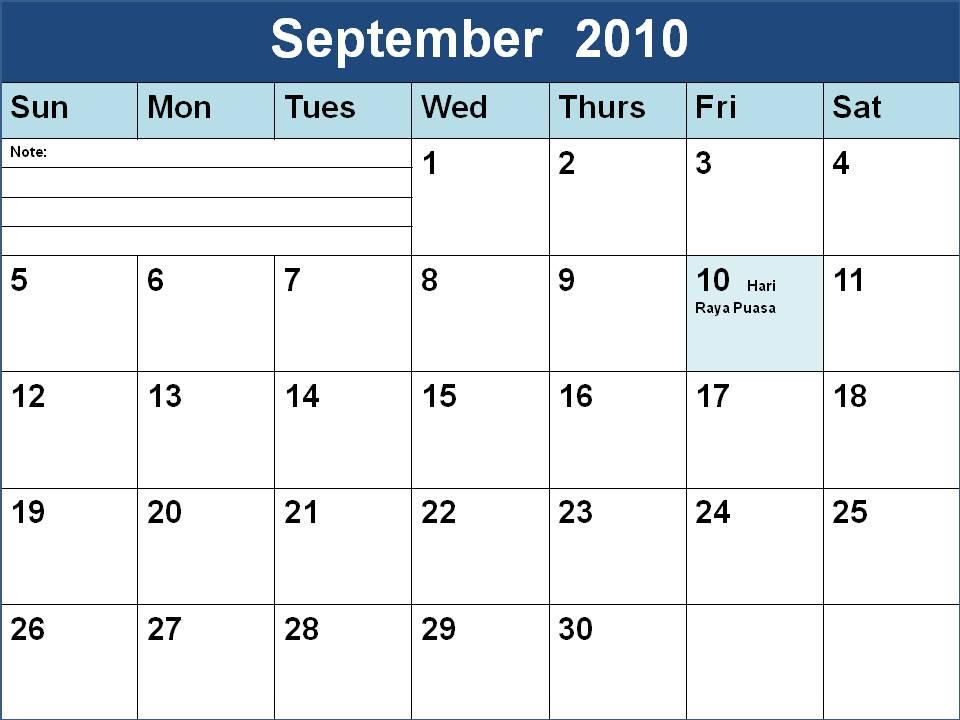 September 2009 Calendar - PDF Word Excel
