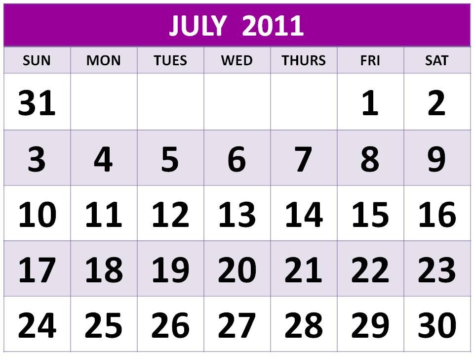 njyloolus july calendar 2011 with holidays