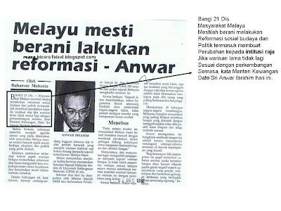 Anwar dari dulu hingga sekarang, terus dengan slogan Reformasinya. Tidak mengapalah, dulu untuk naik jawatan, bodek itu satu kemestian kan?