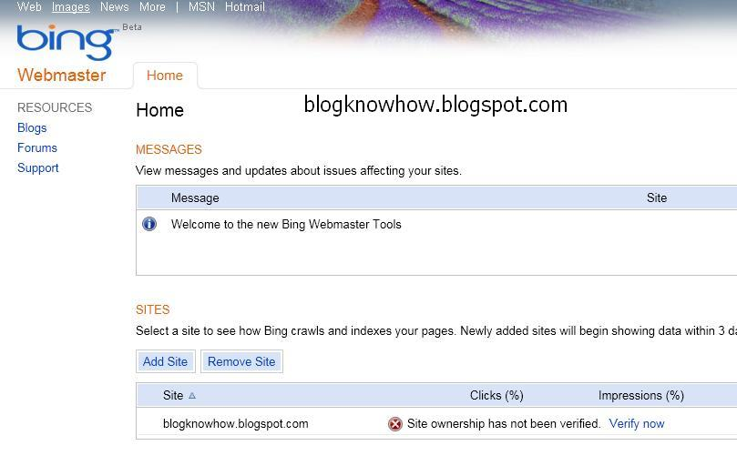 Add A Blogger Sitemap To MSN Bing Webmaster Tools