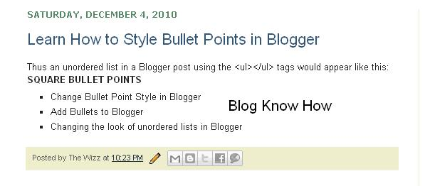 How to Change Bullet Point Style in Blogger (Blogspot) Lists