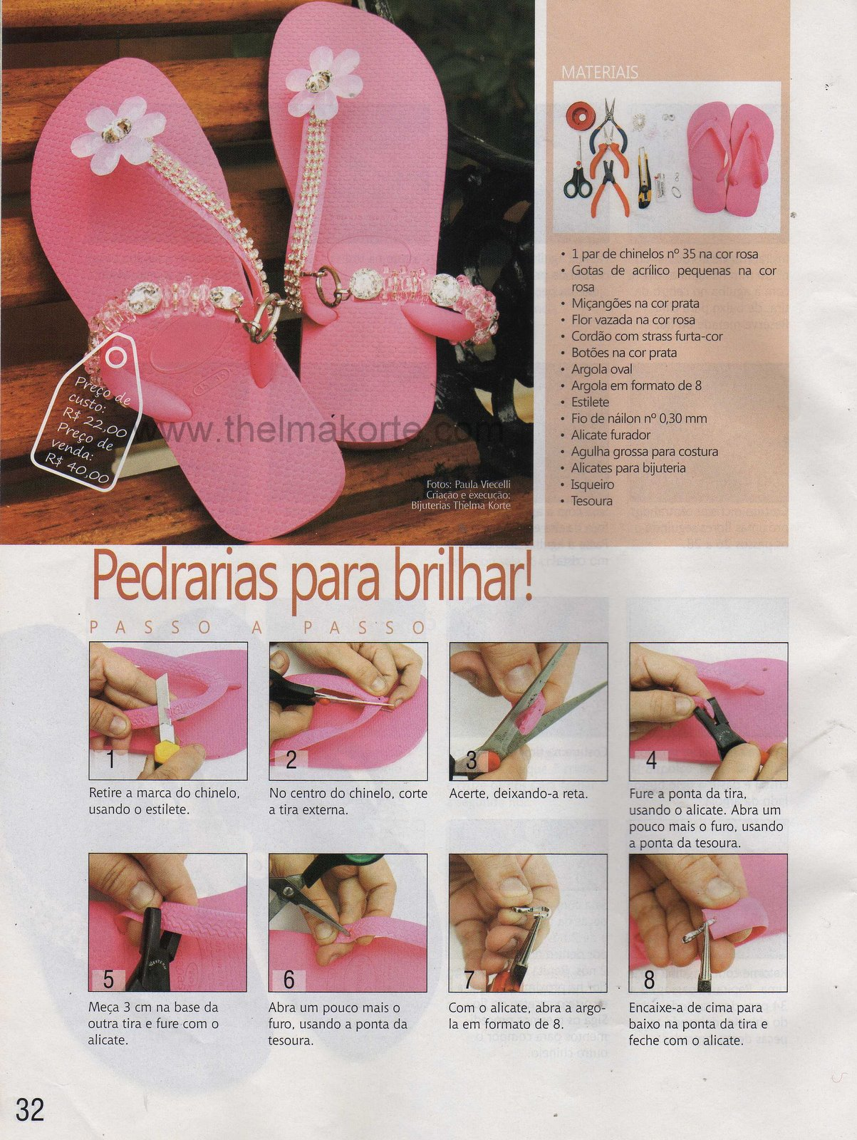 8525a3139 Chinelo publicado na revista CHINELOS DECORADOS ...