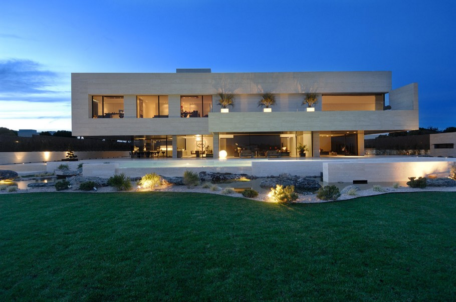 House with Big Windows and Swimming Pool. Madrid, Spain ...