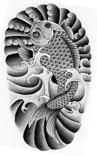 Black And Grey Koi Tattoo Designs