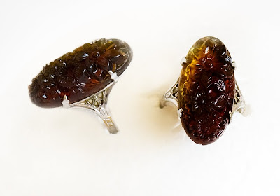 art noveau ring of sterling silver and amber
