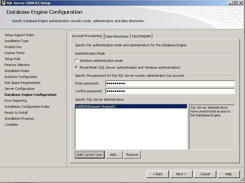 Sequal Server Com: SQL 2008 R2 Setup Error -'' is not a