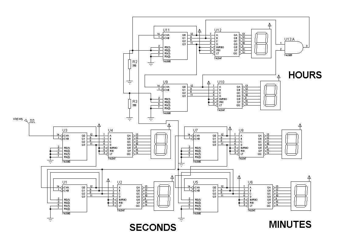 digital clock based on 74ls90 [ 1110 x 810 Pixel ]