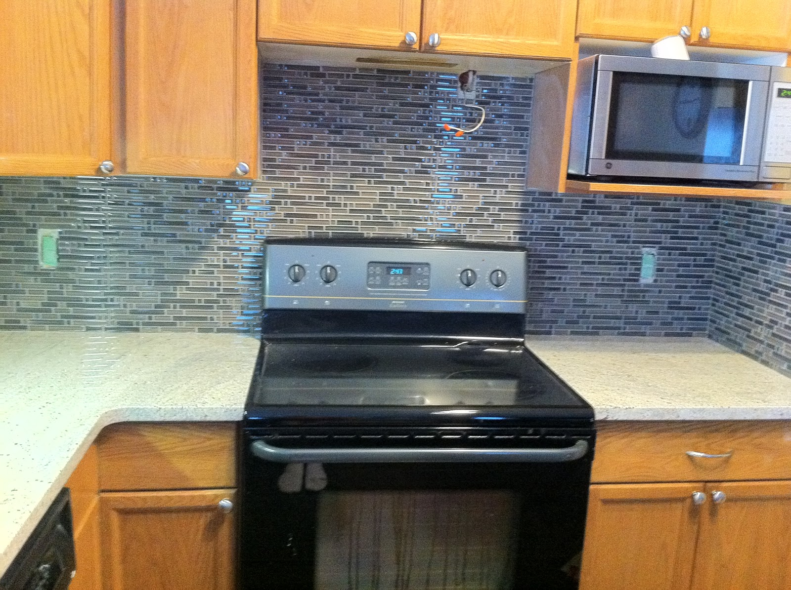 Blue Tile Backsplash Kitchen Mixer Machine Ribbon Studio New