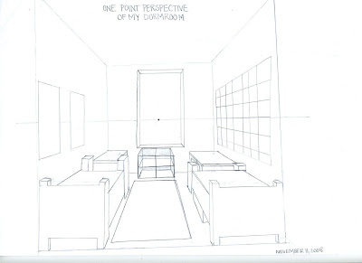 kristen sylvia: One Point Perspective from Dorm Room