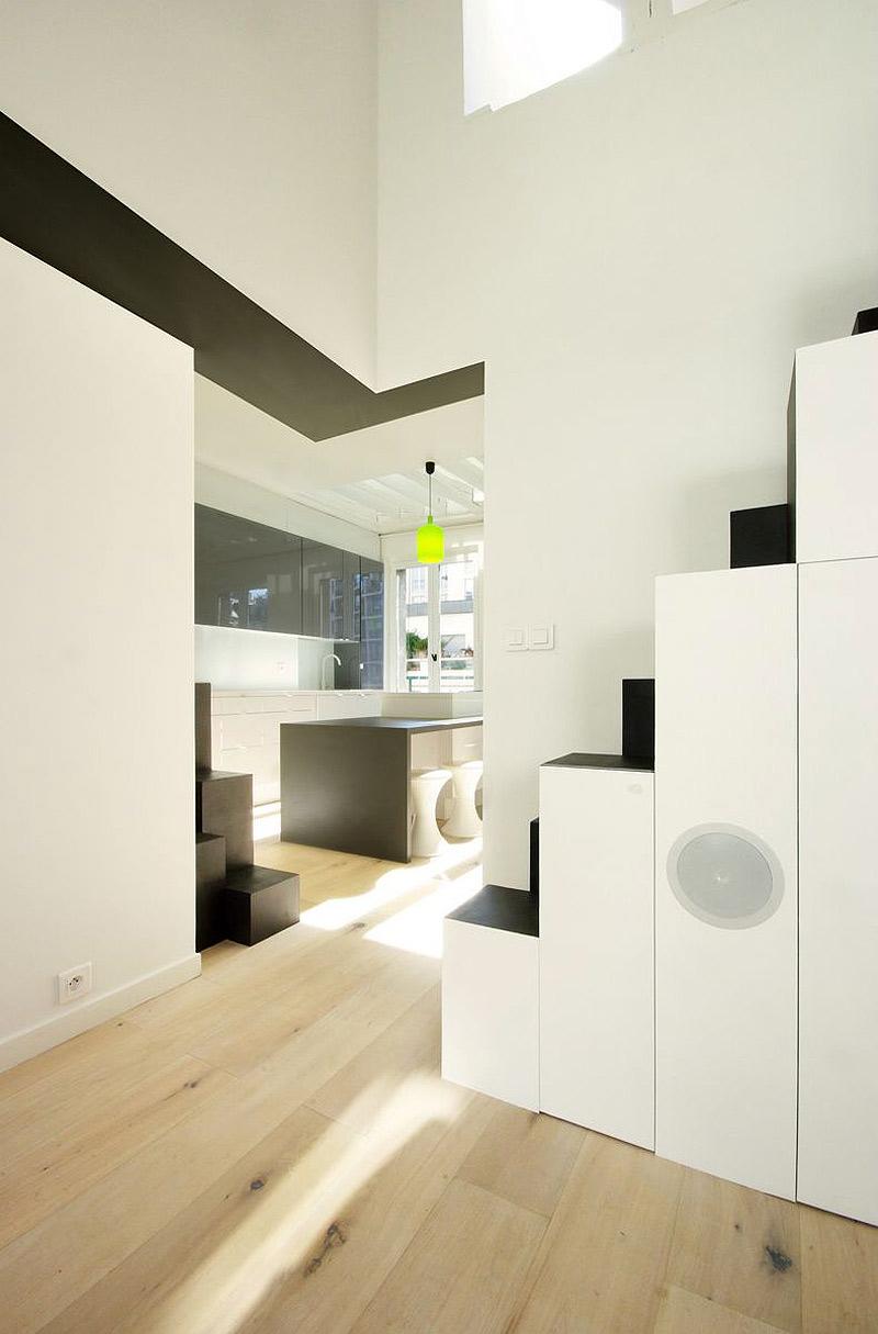 Peque o d plex en par s por maaj architectes dise o de for Diseno apartamentos duplex pequenos