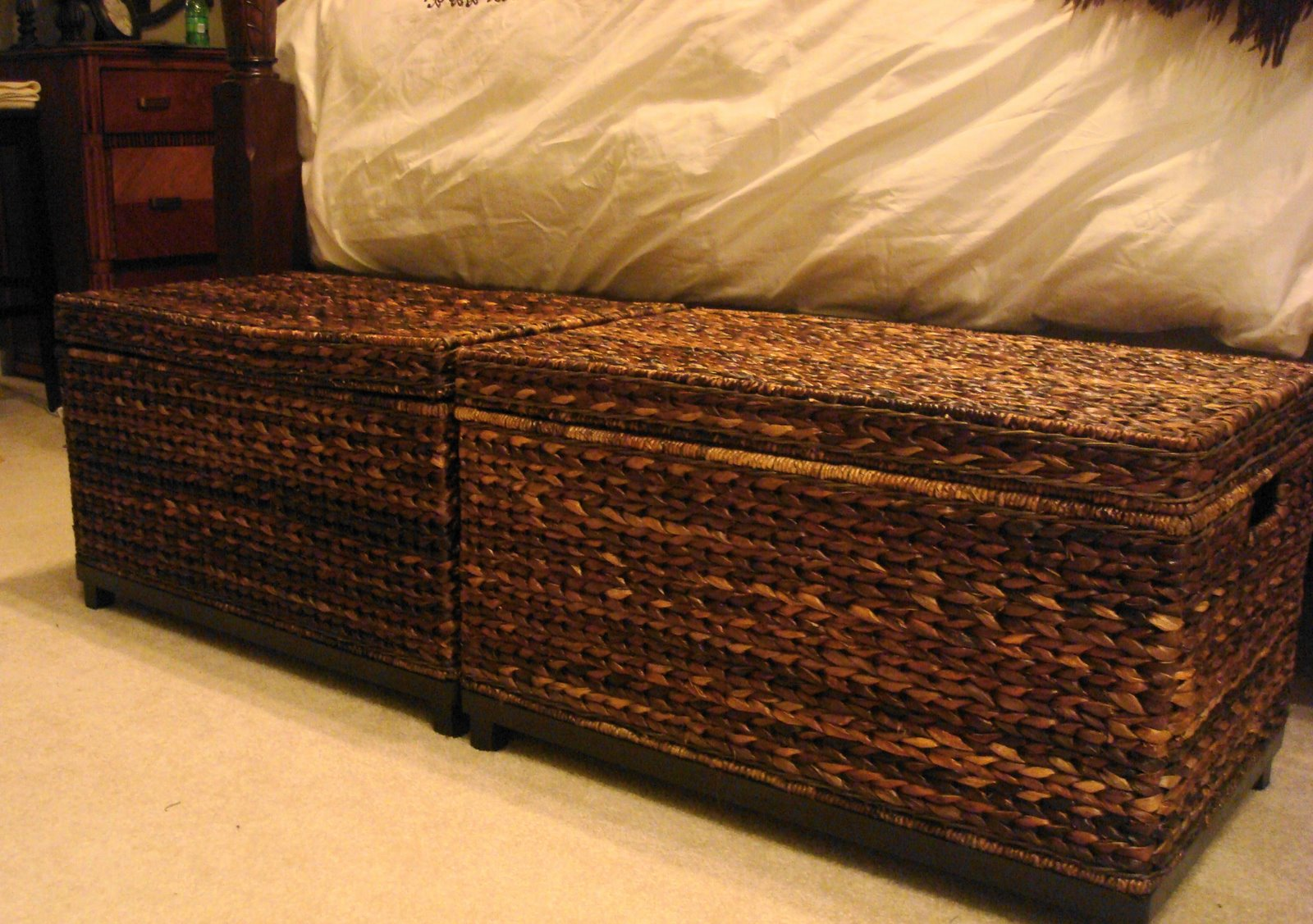 Large rattan storage bins