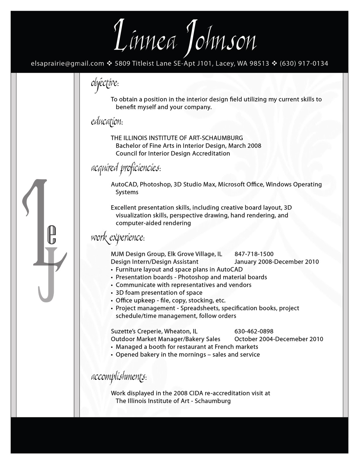 Interior Designer Resume Interior Design Portfolio