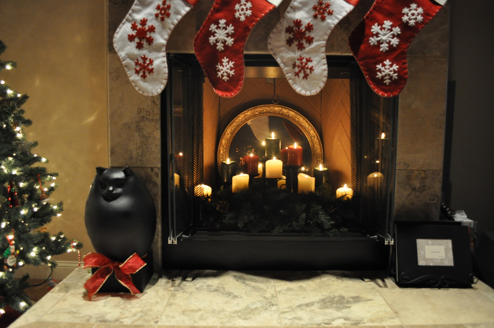 Lavender Clouds: My Christmas Candle Lit Fireplace