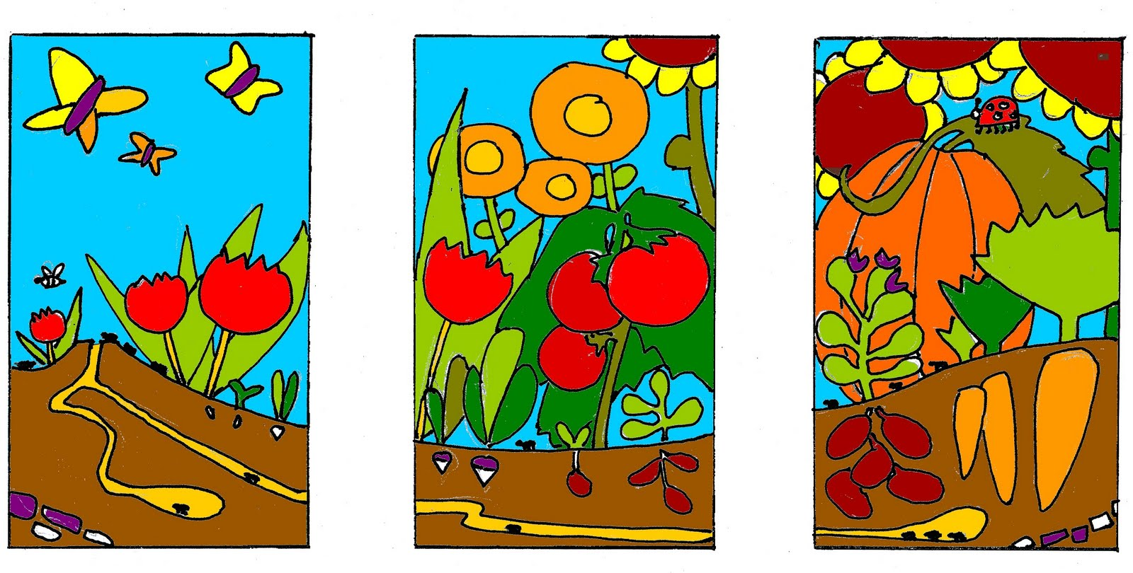 Garden pictures for kids to color - Garden Drawing For Kids Info