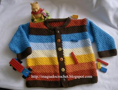 casaco tricot riscas coloridas ponto arroz simples