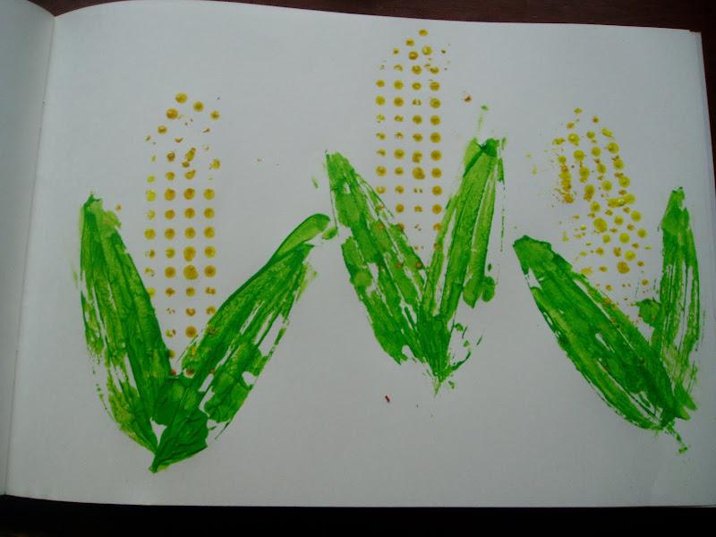 Block Printing Corn Cobs Artsy Craftsy Mom
