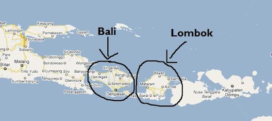 Las islas de Bali y Lombok en el mapa en Indonesia