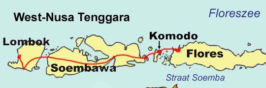 Mapa de Indonesia desde la isla de Lombok a Flores