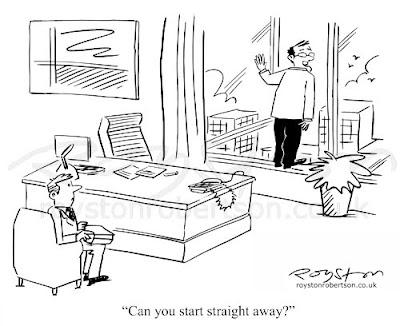 Royston Cartoons: Not Yet Sold: Job interview cartoon