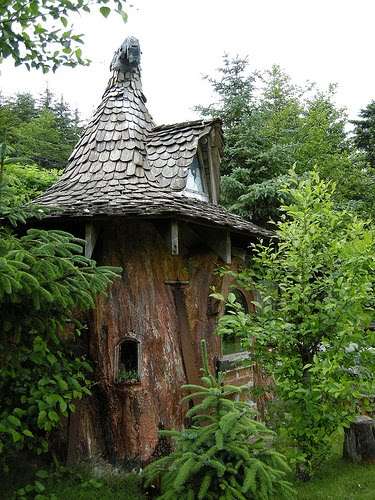 Gnome Tree Stump Home: Shedworking: Children's Sheds: A Place Imagined