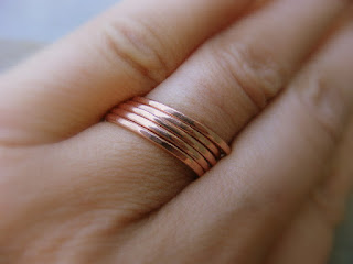hand forged copper stacking rings