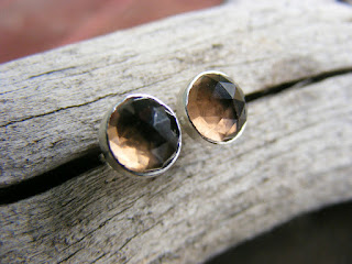 smoky quartz sterling silver post earrings