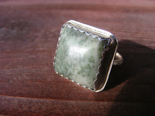 chunky sterling silver moss agate ring