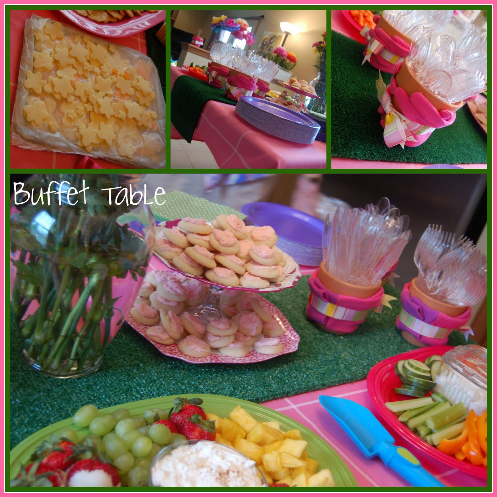 Birthday Party Buffet Table: We Used A Bright Green Watering Can To Hold Our Drinking