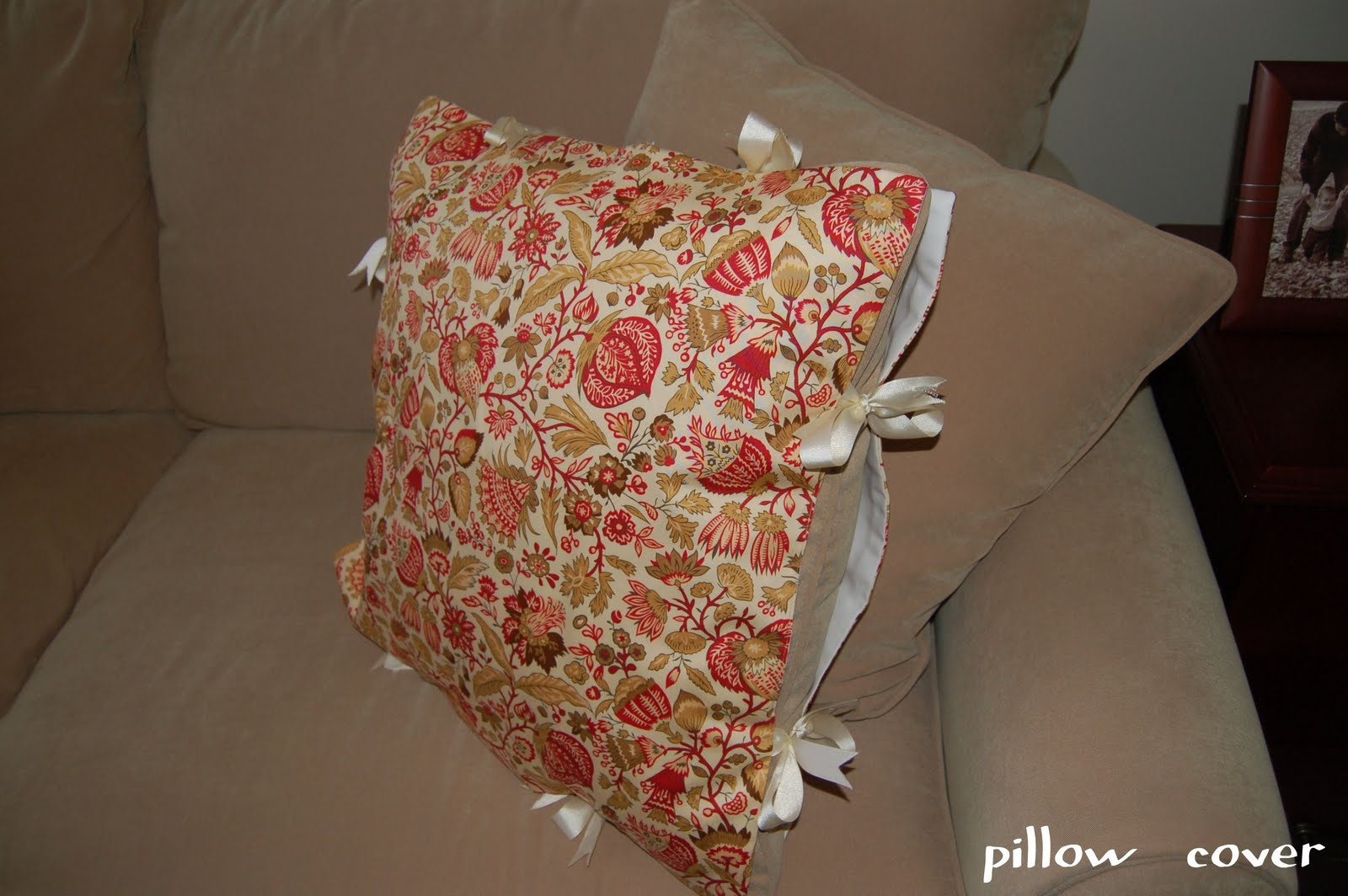 Then I Tied The Two Fabric Pieces Together With The Pillow