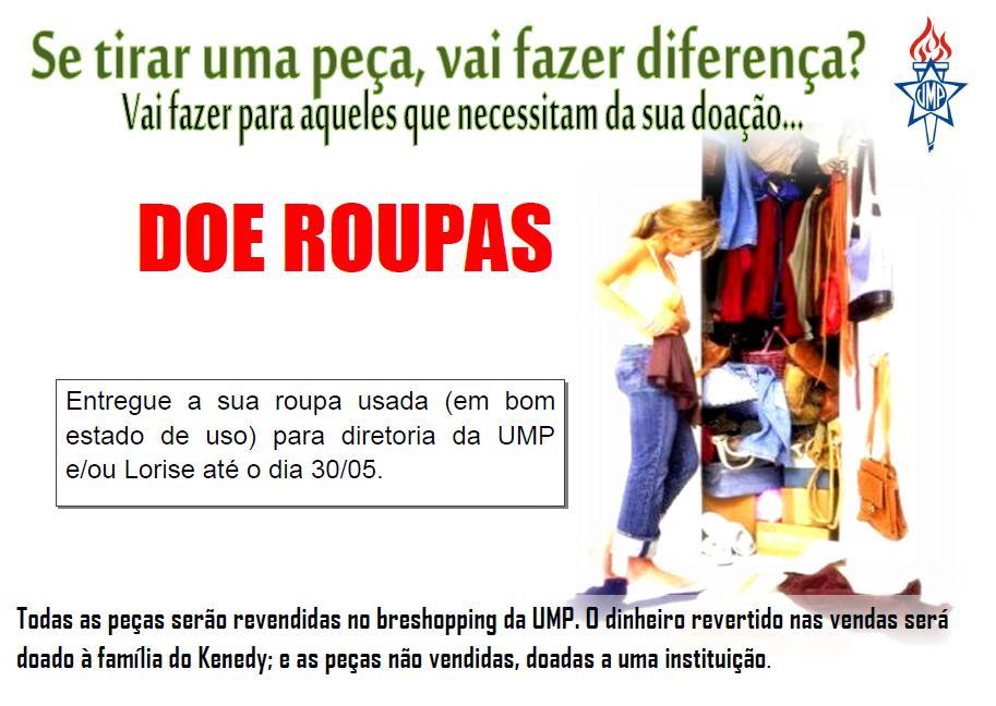 ee8dcb9fea6 Blog da Mocidade Betel  Campanha Doação de Roupas