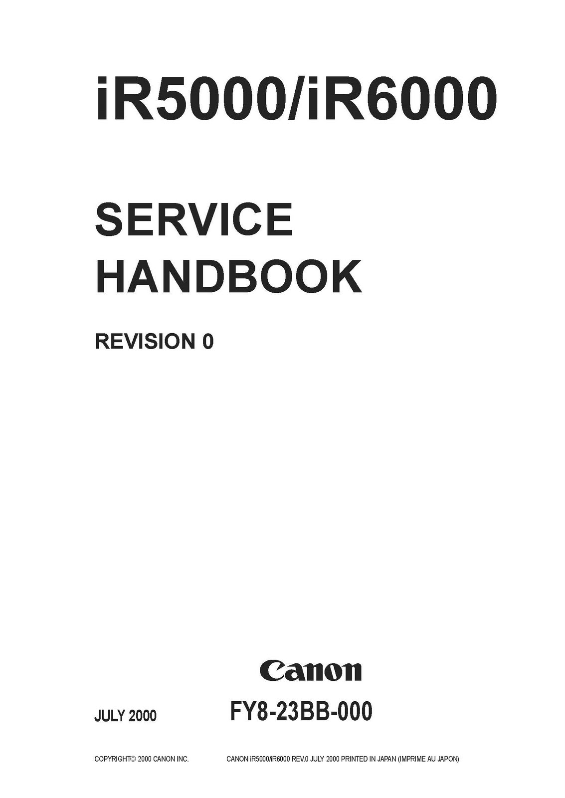 Service Manual Foto Copy: Service Manual canon IR5000.6000