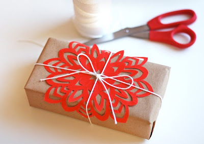 orange snowflake gift wrap