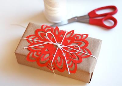 orange snowflake gift wrap