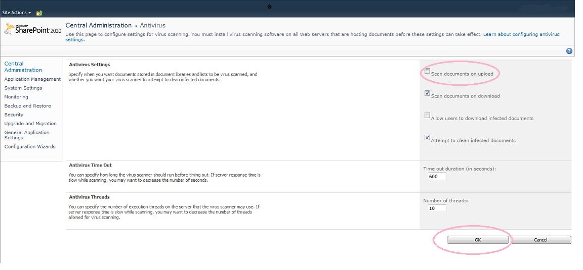 SharePoint Solutions: Error: The installed virus scanner is