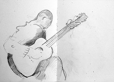 pencil drawing of a buskers palying guitar