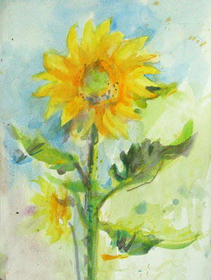watercolour of a sunflower 2 in a series