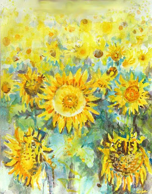 watercolour painting by adam cope of a field of sunflowers from dordogne,