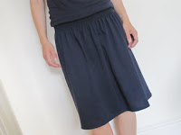 Blue shirred waist skirt