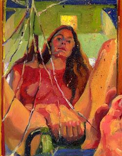 Self portrait oil painting in a broken, dirty, paint splattered mirror