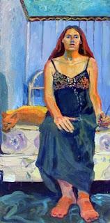 Self Portrait, full figure seated oil painting with orange cat sleeping